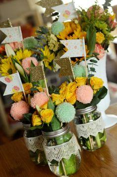 @Natalie Jost freeman birthday bouquets with mason jars & lace, pom pom flowers & paper flags