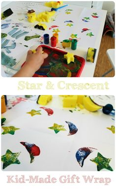 star and crescent print sponge paintings that can be used as kid-made gift wrap. Ramadan craft activity