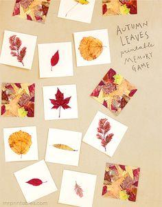 Autumn Leaves Memory Game - Mr Printables