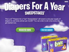 Enter the Luvs Diapers for a Year Sweepstakes for a chance to win 1 of 12 Year Supplies of Luvs Diapers!