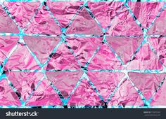Abstract, holographic background with pink triangles digital watercolor texture on blue, turquoise, metallic aluminum foil surface
