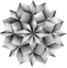 Leslie David is a french graphic designer and illustrator. David's portfolio is a true source of inspiration. Mandala Art, Geometric Mandala, Geometric Shapes, 3d Art Drawing, Geometric Drawing, Pencil Art Drawings, Geometry Art, Sacred Geometry, Art Fractal