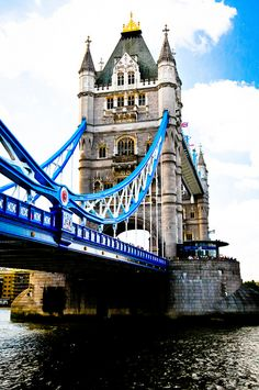 London, England--Tower Bridge  Roadway raises to let ships pass underneath.