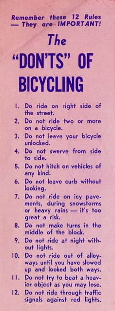 An Illustrated Vintage Bicycle Safety Manual circa 1969 | Brain Pickings