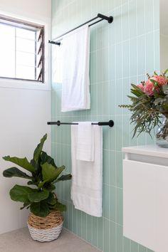 Gray Bathroom Ideas Warm Grey Subway Tiles 41 Ideas For 2020 Bathroom Feature Wall Tile, Bathroom Concrete Floor, Serene Bathroom, Bathroom Colors, Colourful Bathroom Tiles, Green Bathroom Tiles, Bathroom Ideas, Feature Tiles, Family Bathroom