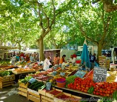 A visit to Lourmarin would not be complete without at least one visit to a local market in Provence. Friday is market day in Lourmarin But from early morning until about you'll find a market in Provence, somewhere, every day: Markets . Provence France, Provence Style, Southern France, Clay Tiles, Montpellier, French Riviera, France Travel, Farmers Market, Shutters