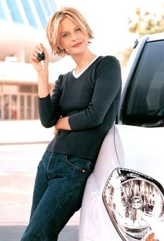 Meg Ryan short hair! Love how sporty and fun!!
