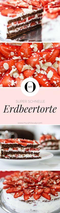 Rezept: Schnelle Erdbeertorte mit Suchtgefahr! Super einfach und lecker - Erdbeeren, Erdbeerkuchen, Schokolade, Frischkäse