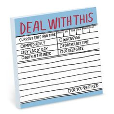 Hand-Lettered Deal With This Sticky Note by Knock Knock