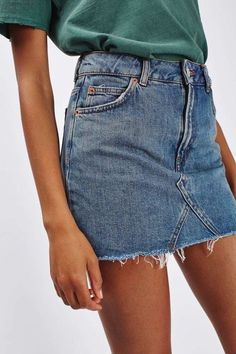 Frayed denim skirt