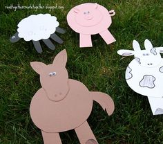 Here are some simple farm crafts that go along with the book, Farmer Will. Make a sheep, pig, horse or cow. Perfect for a farm unit study. Farm Animal Crafts, Farm Crafts, Animal Projects, Farm Animals, Art Projects, Farm Lessons, Farm Day, Farm Unit, Farm Activities