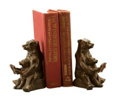 """Bear Bookends - Mom and Cub Reading Lesson by Anecdotal Aardvark. $38.97. Cast Iron. Very Cute Teaching Moment. Antique Finish. 6"""" Tall. Heavyweight - 6 lbs. A quiet moment is captured in these bookends, as mama bear helps her cub learn to read.  A great accent for any parent's or grandparent's bookshelf.. Save 13% Off!"""