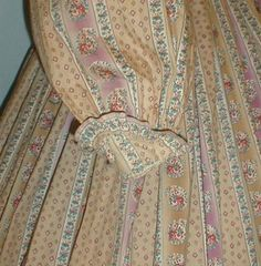 """Fetching 1860's Tan Mauve Floral Print Cotton Dress 