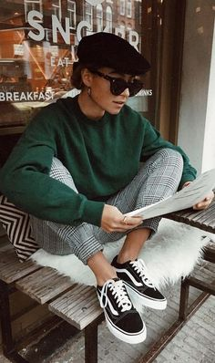 green sweatshirt. check trousers. vans. #streetstyle