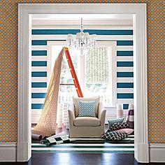Wide Stripe Wallpaper – Turquoise #serenaandlily Feather Wallpaper, Orange Wallpaper, Striped Wallpaper, Print Wallpaper, Wallpaper Ideas, Serena And Lily Wallpaper, Interior Styling, Interior Design, Striped Walls