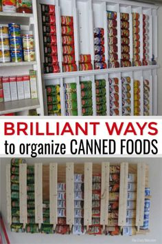 Canned Food Storage Ideas - The best canned food storage hacks Learn how to organize canned food with these easy canned food storage ideas. Over 15 canned food storage hacks that will get your pantry in order. Food Pantry Organizing, Food Storage Organization, Lds Food Storage, Organising, Diy Storage Rack, Can Storage, Pantry Storage Cabinet, Canned Good Storage, Food Storage Rooms