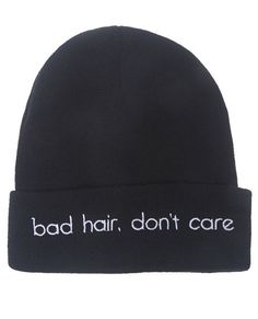 """Don't worry about bed head with this super cute knit beanie featuring the words """"bad hair, don't care"""" embroidered on the front of the adjustable cuff. Beanie has a stylishly snug fit. 100% Acrylic Imported"""