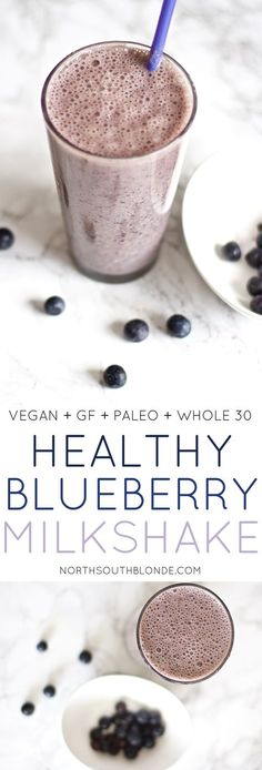 A naturally sweet, creamy and delicious blueberry milkshake perfect for breakfast or a quick and healthy snack. Packed with tons fibre and antioxidants! Great for pregnancy, postpartum moms, weight loss, and even toddler and kid friendly! Natural, organic, and delicious! The easiest way to get your vitamins & minerals in on the daily. Vegan   Gluten-Free   Paleo   Whole 30   Recipe   Breakfast   Lunch   Snacks   Dessert   Smoothie   Drink   Healthy drinks   Dairy Free   Nutritional  