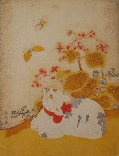 江戸時代の猫浮世絵「猫に蝶」の実物写真