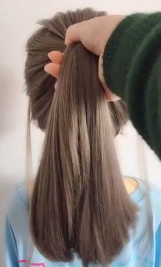 Easy Hairstyles For Long Hair, Girl Hairstyles, Hairstyles Videos, Beautiful Hairstyles, School Hairstyles, Stylish Hairstyles, Hairstyle Short, Hairstyle Hacks, Easy Ponytail Hairstyles