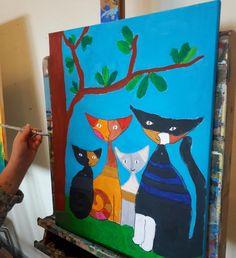 Acryl Malerei. Katzen inspiriert von Rosina Wachtmeister. Von Greta