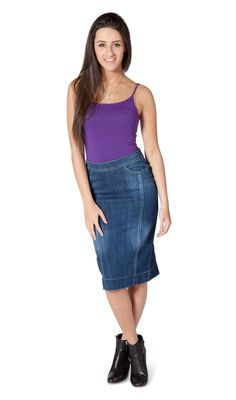 Button Front Long Denim Skirt - Stonewash | Long Denim Skirts ...