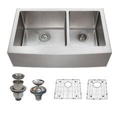 Zuhne 33 Inch Farmhouse Apron 60/40 Deep Double Bowl 16 Gauge Stainless Steel Luxury Kitchen Sink