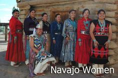 The Navajo woman's traditional style of dress consists usually of foot or knee-high moccasins.