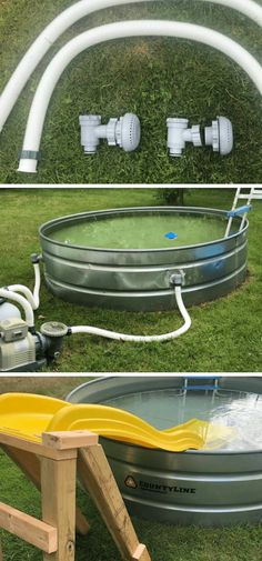 Instead of spending a lot of money to buy a swimming pool for this summer, you can also build your own stock tank pool. Check out the instruction and awesome DIY backyard stock tank pool ideas below. Small Backyard Pools, Diy Pool, Backyard Patio, Backyard Landscaping, Backyard Ideas, Stock Pools, Stock Tank Pool, Galvanized Stock Tank, In Ground Pools