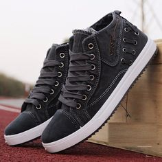 Cheap Men's Shoes, Buy Quality Flats directly from China Flats Suppliers: Men Denim Dark Gray British Style Lace Up High Top Casual Shoes High Top Sneakers, Denim Sneakers, Denim Shoes, Casual Sneakers, Casual Shoes, Men's Denim, Denim Style, Shoes Style, Top Casual