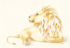 Lion Original Pencil and Watercolour Drawing by WhimsicalTailsArt, $70.00