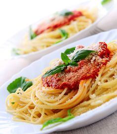 Spaghetti with chunky marinara or pomodoro sauce. Absolute comfort food!