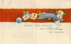 Vintage Christmas Card UNUSED Puppies with by TheVintageGreeting, $4.95