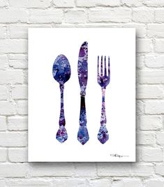 Knife Fork Spoon Art Print -Abstract Watercolor Painting - Kitchen Art Wall…
