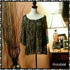 Sheer flowy blouse. New with tag.  Beautiful black top with fun pattern. Tie front. Croft & Barrow Tops Blouses