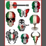 This collection of temporary tattoos by artist Jeff Bartels includes nine patriotic Italian flag designs. The first design is the flag of Italy painted on to an old acoustic guitar. The next designs are an Italian sugar skull and a small butterfly. An adorable baby owl with glasses and a baby penguin playing the guitar are also in the set. A stylized tree of life and tribal pattern are followed by a dark flag skull and bull skull. These patriotic temporary tattoos are a stylish way to show…