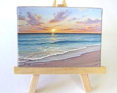 Ocean Sunrise Naples Florida Mini Painting by J. Mandrick - Ocean Sunrise Naples Florida Mini Painting by J. Small Canvas Art, Mini Canvas Art, Mini Paintings, Original Paintings, Mini Tela, Painting Prints, Canvas Prints, Art Watercolor, Painting Inspiration