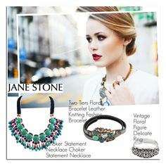 """Jane Stone Jewelry"" by oshint ❤ liked on Polyvore featuring vintage, jewelry and janestone"