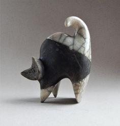 "Ceramic sculpture ""Black cat""sculpture Rakucat figurine petsanimal figurines cat collection birthday present art cat poses ceramics Pottery Animals, Ceramic Animals, Clay Animals, Ceramic Pottery, Pottery Art, Ceramic Art, Cat Pose, Bird Statues, Ceramic Figures"