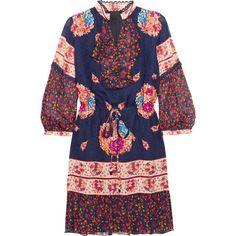 Anna Sui Printed silk-jacquard and silk-crepon mini dress (7 220 ZAR) ❤ liked on Polyvore featuring dresses, navy, ruffle sleeve dress, ruffle dress, blue dress, short sleeve dress and navy blue short dress