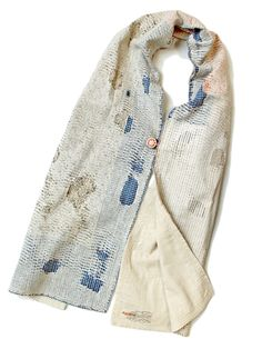 Neck scarf | Worn fabric pattern | Blue and off-white | Repair | KAPITAL - WEB SHOP