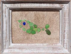 "Real Sea Beach Glass Art - Nautical Decor ""Green Fish"""