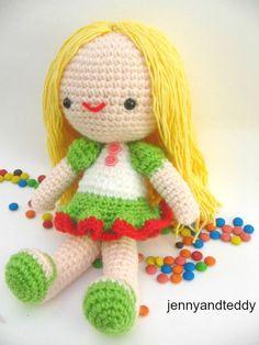free amigurumi doll girll frog pattern