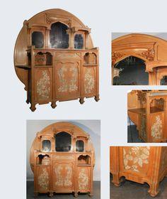 Art Nouveau Floral Marquetry Design Dresser with Mirrors   Modernism