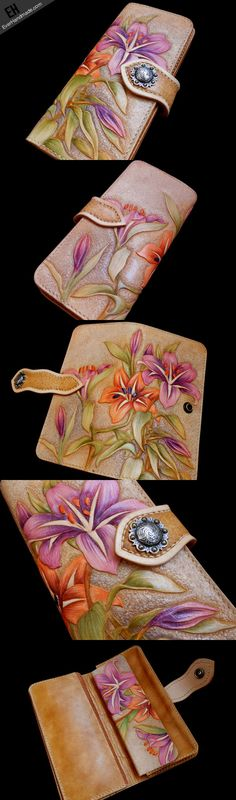 Handcraft vintage hand painting carved lily flower leather long wallet | EverHandmade