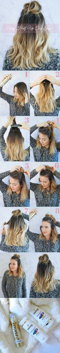 Half Up Top Knot Tutorial   DIY Hair   Hair Tutorial   Hair Tips and Tricks   DIY Hair Styles    Oh So Glam