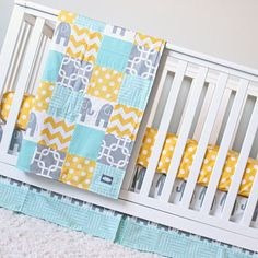 Elephant Crib Bedding Yellow Mint Gray Elephant Baby Bedding Set Nursery Crib Be. Elephant Crib Be Elephant Crib Bedding Set, Baby Elephant Nursery, Nursery Bedding Sets Girl, Girl Nursery Bedding, Nursery Themes, Nursery Room, Nursery Ideas, Room Ideas, Grey And Teal Bedding