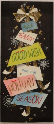 #1899 50s Mid Century Glittered Notes-Vintage Christmas Card-Greeting