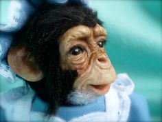 Baby Chimp, Chimpanzee, with clothing, Polymer clay, Sculpture, Art Doll, MADE TO ORDER, by Grannancan