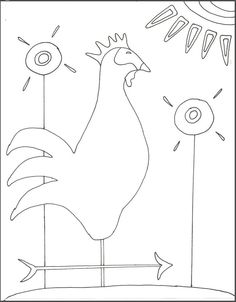 Rooster weather vane - sun - flowers- #guild